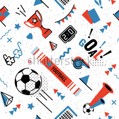 Väggdekor Soccer/football abstract background in 80s memphis style. Seamless memphis pattern for posers and cards. Vector illustration