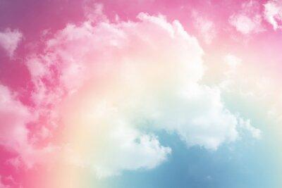 Väggdekor sol och molnbakgrund med pastellfärgad färg