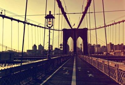 Väggdekor Solnedgång afterglow framför Brooklyn Bridge