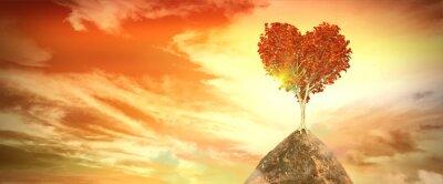 Väggdekor solnedgång med hjärta träd