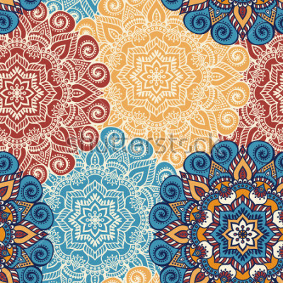 Väggdekor Solomon mönsterplatta med mandalas. Vintage dekorativa element. Hand Rite bakgrund. Islam, arabiska, indiska, osmanska motiv. Perfekt för utskrift på tyg eller papper.