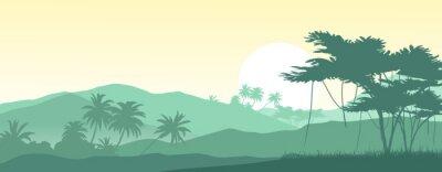 Väggdekor Soluppgång i de tropiska bergen. Vektor illustration.