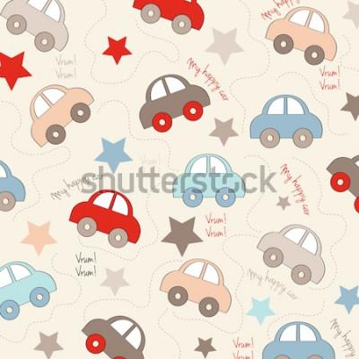 Väggdekor sömlös bakgrund med bilar, vektorillustration