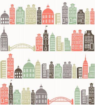 Väggdekor sömlös bakgrund med färgstark stad silhuett