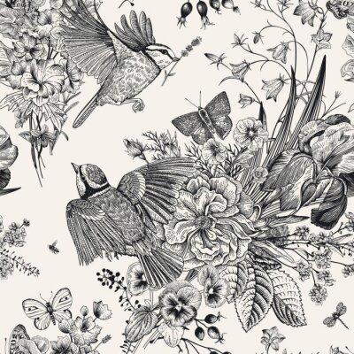 Väggdekor Sömlös blommönster. Bröst, blommor, fjärilar. Botanisk illustration för vektortappning. Svartvitt
