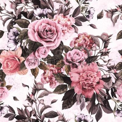 Väggdekor Sömlös blommönster med rosa rosor och pioner på akvarellbakgrund.