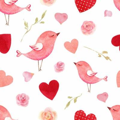 Väggdekor Sömlös modell för lycklig valentins dag akvarellvektor.