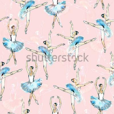 Väggdekor Sömlös mönster av ballettdansare, svart, vit och silver tegning, akvarellmålning, skriv på rosa bakgrund.