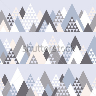 Väggdekor Sömlös mönster med geometriska berg # 1