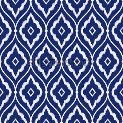 Väggdekor Sömlös persisk ikat-mönstervektor för porslinindigoblått och vitt