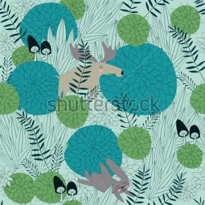Väggdekor Sömlös skogsbakgrund med söta skogsplanter, älg, hare och svampar i tecknadstil.