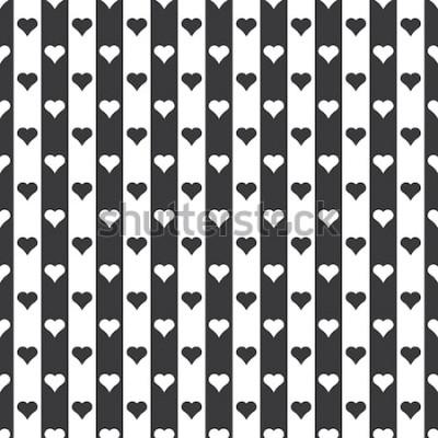 Väggdekor Sömlös svartvit hjärtan och ränder mönster vektor