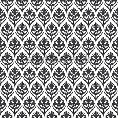 Väggdekor Sömlös svartvit vintage blom- ogee medeltida mönstervektor