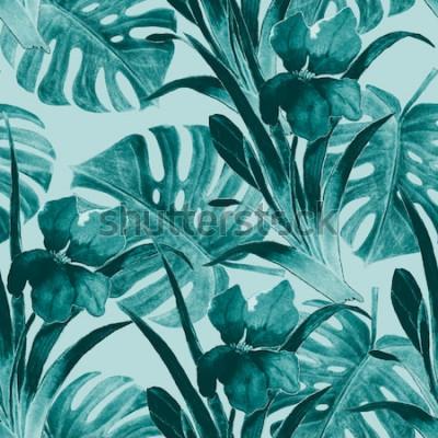 Väggdekor Sömlös tropisk mönster med irisblommor och exotiska blad. Vattenfärg. Handfärg.