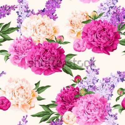 Väggdekor Sömlös varicolored pioner och lila