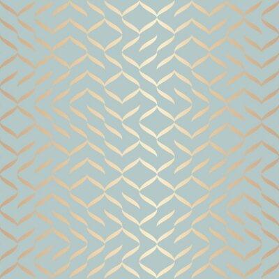Väggdekor Sömlös vektor geometriska gyllene elementmönster. Abstrakt bakgrundskoppartextur på blågräsplan. Enkelt minimalistiskt grafiskt tryck. Modernt turkos spaljettnät. Trendig omslagspappersdesign.
