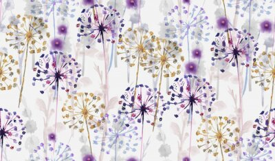 Väggdekor Sömlös vild blommönster i akvarell i handmålningstil, delikat blommatapet