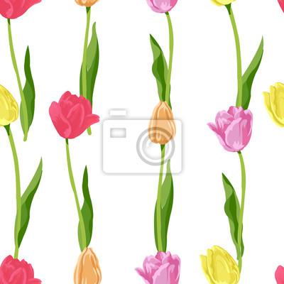 Väggdekor sömlösa små blommiga tulpaner mönster bakgrund
