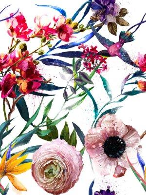 Väggdekor sömlöst exotiskt blommigt modsmönster