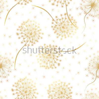 Väggdekor Sömlöst mönster med blommor Maskros. Vektor illustration