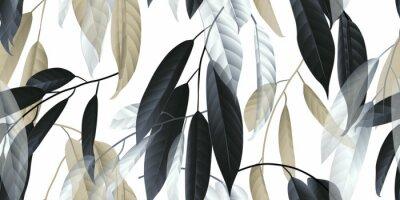 Väggdekor Sömlöst mönster, svart, gyllene och vita långa löv på ljusgrå bakgrund