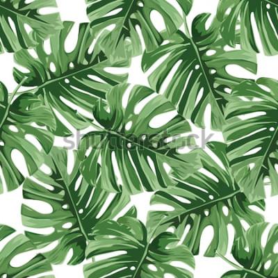 Väggdekor Sommar bakgrund. Tropiska palmblad, djungel lämnar sömlös blommönster för vektor.