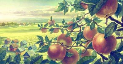Väggdekor Sommarlandskap med äpple grenar. Digital målar.
