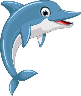 Väggdekor söt delfin tecknad hoppning