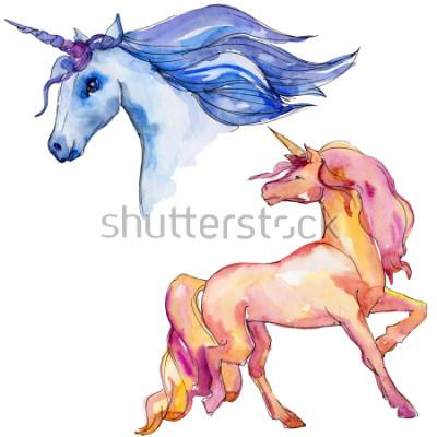 Väggdekor Söt enhörningshäst. Fairytale barn söt drom. Rainbow djur horn karaktär. Isolera illustrationelement. Akvareller vilddjur för bakgrund, textur, omslagsmönster eller tatuering.