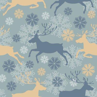 Väggdekor Söt God Jul sömlösa mönster med renar och snöflingor. Vintage vektor illustration.