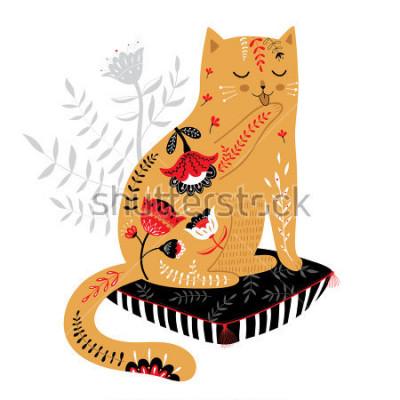 Väggdekor söt handdragen katt