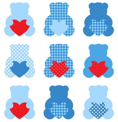 Väggdekor Söt nallebjörn med hjärtan set isolerad på vitt (blått & rött)