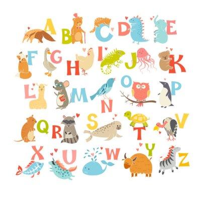 Väggdekor Söt vektor zoo alfabetet. Roliga tecknad filmdjur. Vector Illustration EPS10 isolerad på vit bakgrund. Bokstäver. Lär dig att läsa