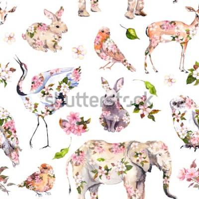 Väggdekor Söta djur i rosa vårblommor. Sömlös blommönster. Kvinnlig, girly akvarell