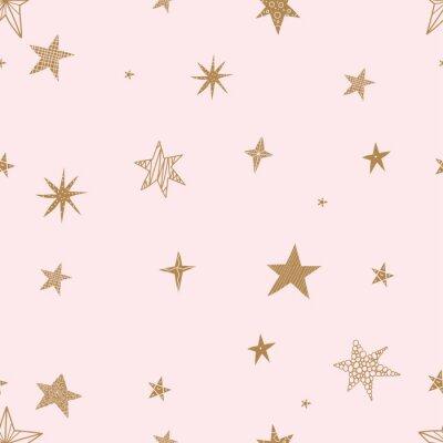 Väggdekor Söta guldstjärnor. Sömlös vektor mönster. Seamless mönster kan användas för tapeter, mönsterfyllningar, webbsidabakgrund, ytstrukturer.