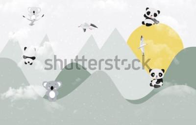 Väggdekor Söta koalor och pandor som spelar i berget