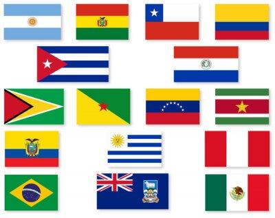Väggdekor South amerikanska flaggan Set