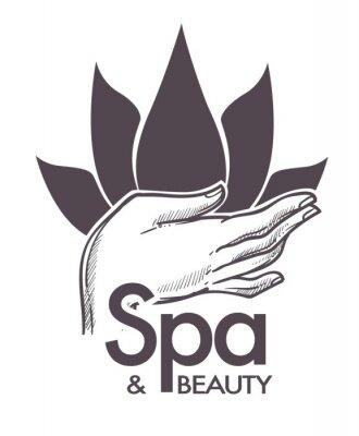 Väggdekor Spa och skönhet, kosmetiska procedurer, aromaterapi i salongvektor.