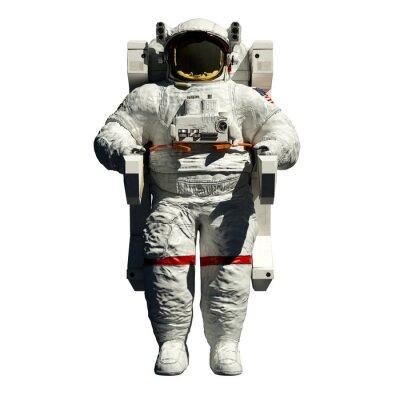 Väggdekor spacewalking astronaut - 3d illustration framifrån på vitt