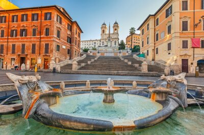 Väggdekor Spanska trappan på morgonen i Rom, Italien