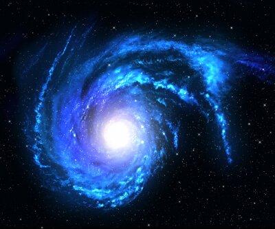 Väggdekor Spiralgalax i rymden med stjärn fält bakgrund.