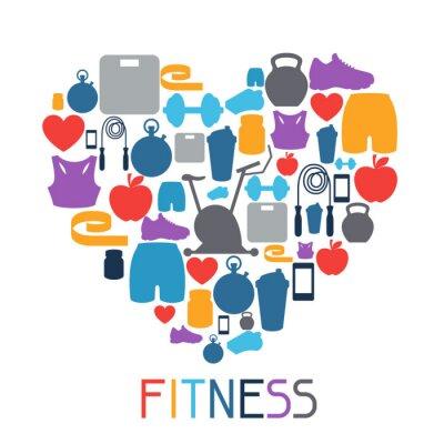 Väggdekor Sport bakgrund med fitness ikoner i platt stil.