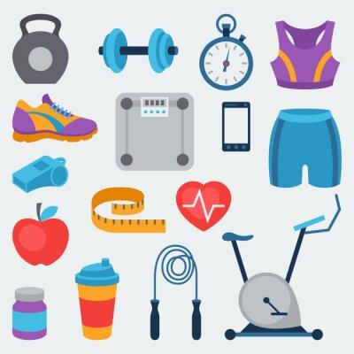 Väggdekor Sport och fitness ikoner som i platt stil.