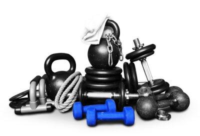 Väggdekor Sportutrustning för bodybuilding samlas i en hög