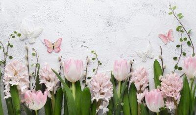 Väggdekor Spring flower and butterfly