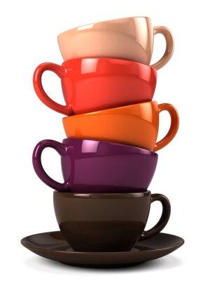 Väggdekor Stack av kaffekoppar isolerade på vitt