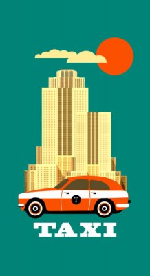 Väggdekor Stad Taxi affisch