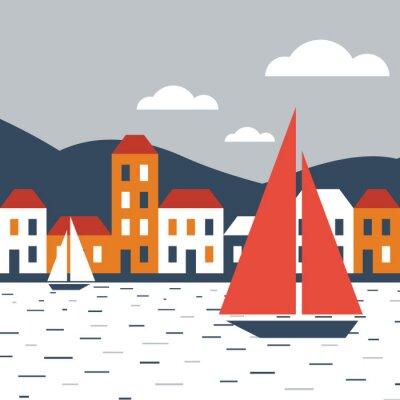 Väggdekor Staden vid havet