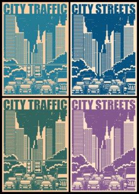 Väggdekor stadens gator retro affischer