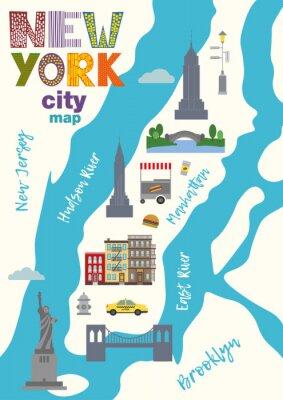 Väggdekor Stadskarta över Manhattan i New York City